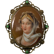 Porcelain Hand Painted Portrait Brooch Pin