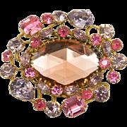 Pink and Lavender Rhinestone Brooch Pin