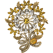 Gold and Clear Rhinestone Pin Brooch