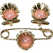 Pink Moonstone and Rhinestone Pin and Matching Cuff Links