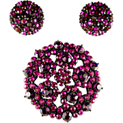 Fuchsia Crystal Brooch and Clip Earrings Set