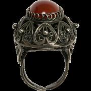 Carnelian Ring Sterling Filigree Adjustable
