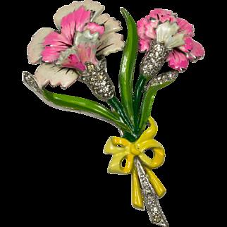 Reja Enamel and Rhinestone Floral Brooch Pin