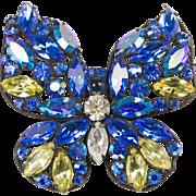 Regency Blue Butterfly Large Brooch Pin