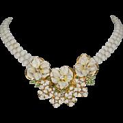 Sandor White Glass Bead Enamel Flowers Necklace