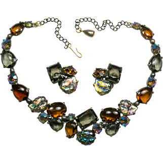 Schiaparelli Iridescent Blue and Amber Necklace and Earrings