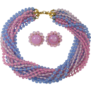 Sandor 12 Strand Pink and Blue Glass Bead Necklace and Pink Clip Earrings