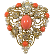 Schreiner Orange Brooch Signed Pendant