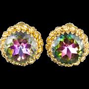 Schiaparelli Watermelon Tourmaline Rhinestone Clip Earrings