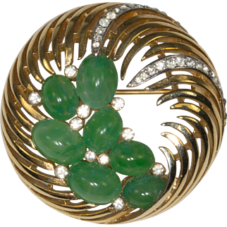 Trifari Feathery Waves of Gold Tone Metal with Green Cabochons