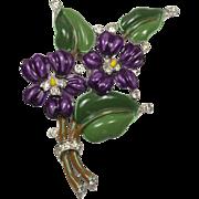 Trifari Alfred Philippe Enamel Violets and Rhinestones Fur Clip