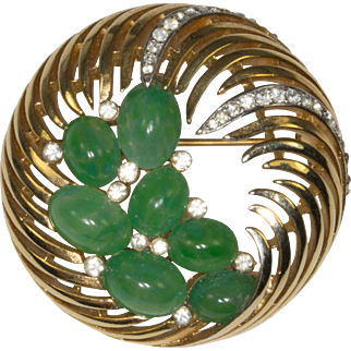 Trifari Feathery Waves of Gold Tone Metal with Green Cabochons Brooch