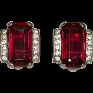 Trifari Deep Red Rhinestone Sterling Clip Earrings