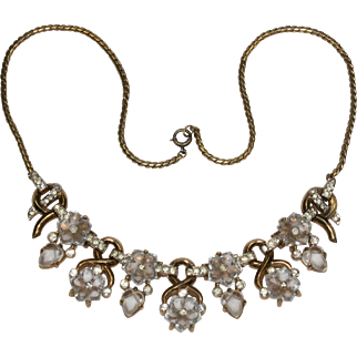 Trifari 'Alfred Philippe' 'Dewdrops' Moonstone Fruit Salads and Flowers Necklace