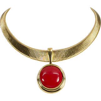 Vintage Trifari Collar Style Red Pendant Necklace