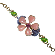 Poured Glass Petal Flower and Enamel Bracelet