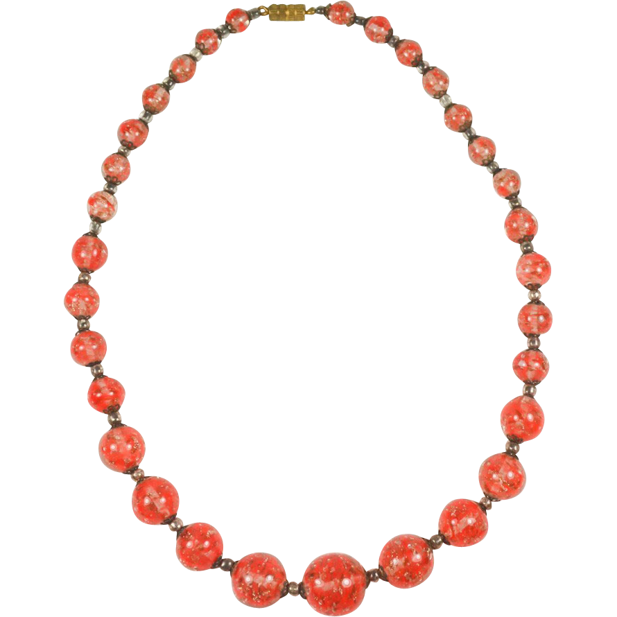 Lovely Coral Colored Venetian Glass Necklace SOLD On Ruby Lane