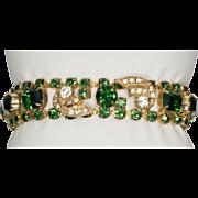 WEISS Emerald Green Clear Rhinestone Sparkling Bracelet