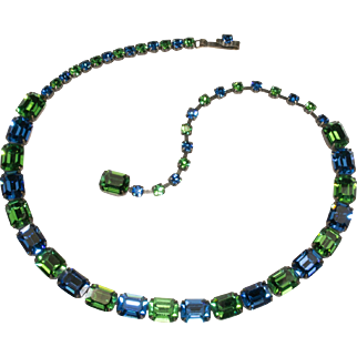 Vintage SIGNED Weiss Blue and Green Rhinestone Necklace