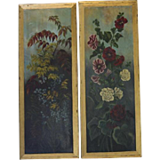 Pair Antique Victorian Oil Paintings on Boards Panels Flowers Poppies Blue Yellow Red Dramatic Shades