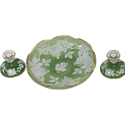 Vintage Green Frosted White Console Fruit Bowl & 2 Taper Candlesticks Phoenix Glass
