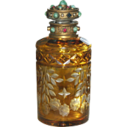 Best Antique Very Fine Austrian Cabochon Jeweled Cut to Clear Perfume Bottle