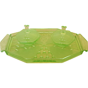 Vintage 1930's Green Art Deco Vanity 3 pc. Set of Tray 2 Powder Jars