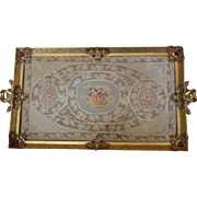 Vintage 1920's  APOLLO STUDIOS Jeweled Vanity Perfume Tray w/ lace insert Gold Ormolu