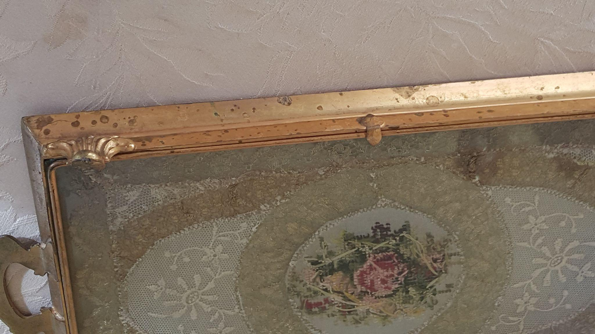 Antique vanity tray with lace insert - Roll Over Large Image To Magnify Click Large Image To Zoom