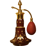 c.1890 BOHEMIAN RUBY RED CUT GLASS GILT HAND PAINTED PERFUME BOTTLE ATOMIZER