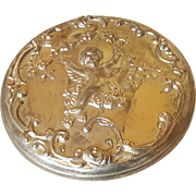 Cherub Silver Plated and Glass Powder Jar with Mirror