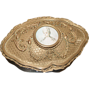 Antique Lrg. French Gilt Casket Trinket Box w/ Miniature Portrait Ornate Ormolu