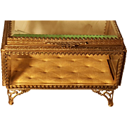 Vintage Gold Plate Casket Trinket Box w/ Beveled Glass French metal Bow