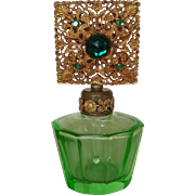 Dazzling Vintage Green Glass Jeweled Bottle w/ Intact Dauber Gold Ormolu Gilt Filigree