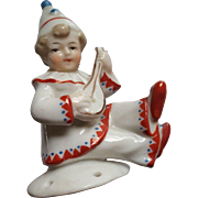 Delightful Little Boy Pierrette Half Doll Playing String Instrument 1920's - Red Tag Sale Item