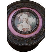Antique French Bronze Pink Guilloche Enamel Miniature Portrait Vanity Dresser PowderJar Box
