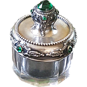 Distinguished Antique Sterling Silver Green Jeweled Top w/ panel glass bottom Small Trinket box Powder jar