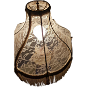 Antique Lace and Fringe Lamp Shade - Restored in Shabby French Style