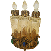 Antique Austrian or Czech Perfume Bottles with Cabochon Jeweled Caddy