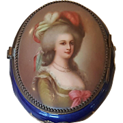 Antique French Porcelain Box w/ Hand Painted Portrait Most Exquisite Face