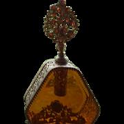 Big Vintage Jeweled Perfume Bottle Regency Stylebuilt Stlye Beveled Glass
