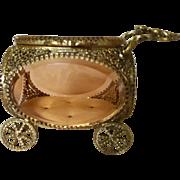 Vintage Carriage Trinket Box Casket w/ Beveled Glass Ormolu Filigree Figural