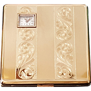Authentic Lady Windsor Watch Compact w/ Org. Box & sleeve made by Illinois Watch Case Company  Weldwood Watch insert.