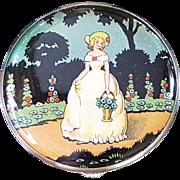 Vintage Gwenda Foil Decorated Crinoline Lady Powder Compact - Unused - Red Tag Sale Item