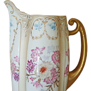 Splendid Antique Lobed German Pitcher w/ gold luster and garland swags