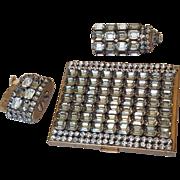 Glamorous Vintage Evans Jeweled Rhinestone Lipstick, Compact, & Lighter Matching Set