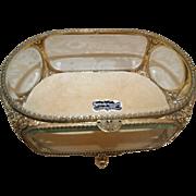"""Stylebuilt"" Large Vintage Jewelry Casket Trinket Box Vitrine Beveled Glass 24k Gold Plate"