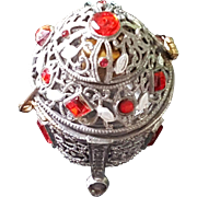Irice Czech Red Jeweled & enamel Perfume Holder Cage w/ Perfume bottle