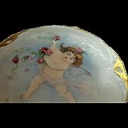 Antique German Cherub Powder Jar / Bowl w/Lavish Gold Trim