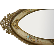 Lrg. Vintage 1910-1920's Vanity Tray Mirror w/ Gold French Bows & Filigree